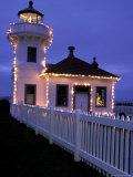 Mukilteo Lighthouse with Christmas Lights, Washington, USA Photographic Print
