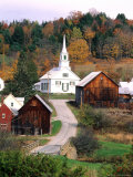 Fall Colors in Small Town with Church and Barns, Waits River, Vermont, USA Photographic Print by Bill Bachmann