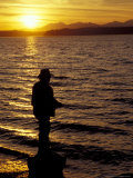 Silhouette of Fisherman at Lincoln Park, Seattle, Washington, USA Photographic Print by William Sutton