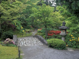Stone Bridge and Pathway in Japanese Garden, Seattle, Washington, USA Photographic Print