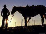 Cowboy on Horseback, Ponderosa Ranch, Seneca, Oregon, USA Photographic Print by Darrell Gulin