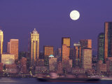 Seattle Skyline with Full Moon, Washington, USA Photographic Print