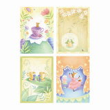 Tea Time Critters Four Patch Poster