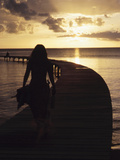 Woman Walking on Pier at Sunset, Martinique Photographic Print