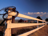 Coiled Barbed Wire and Red Barn, near Walla Walla, Washington, USA Photographic Print by Brent Bergherm