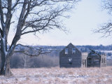 Wracked Wooden Barn in Snowy Field Photographie