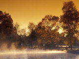 Steam Rises off Pond at Pioneer Park at Sunrise, Washington, USA Photographic Print by Brent Bergherm