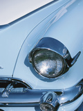 Vintage Headlight on Antique Blue Car Photographic Print
