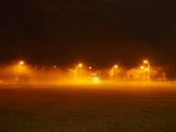 Streetlights Lighting up Street at Night Reprodukcja zdjęcia