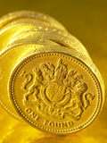 Close-up of Silver Pound Coins Photographic Print