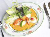 Fresh Gourmet Salad and Vegetables with Elegant Place Setting Fotografie-Druck