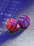 Sixes on All Sides of Dice with Stock Market Numbers Reprodukcja zdjęcia