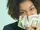 Woman Holding Money Fotografisk trykk