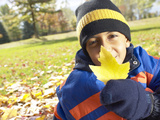 Little Boy Holding Up Yellow Leaf Photographic Print