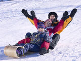 Family Tobogganing Photographic Print