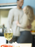 Glass of White Wine in Kitchen Photographie