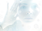 Woman Looking Through a Window with Etched Snow Flake Symbols Photographic Print