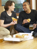 Couple Eating Pizza and Drinking Beer on Moving Day Photographic Print