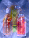 Chemical Bottles with Economic Solutions Inside Photographic Print