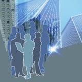 Stylized Group of Blue and Grey People Standing Amongst Downtown Buildings Photographic Print