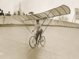 Grinning Cyclist Tries to Get His Glider Airborne at the Parc des Princes Stadium Paris Reproduction photographique