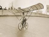 Grinning Cyclist Tries to Get His Glider Airborne at the Parc des Princes Stadium Paris Photographie
