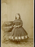Girl Wears a Dress with Loose Pleated Bodice a Crinoline Supported Short Skirt Photographic Print