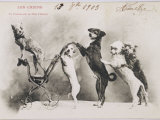 """La Promenade de Mademoiselle Follette"", Four Dogs Take a Fifth for a Ride in a Pram- Like Vehicle Photographic Print"