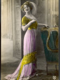The Directoire, Empire Silhouette: High-Waisted Pink and Gold Gown with an Embroidered Corsage Photographic Print