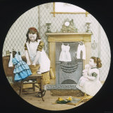 Two Little Girls Wash Their Dolls' Clothes Photographic Print