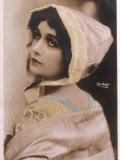 Lina Cavalieri Italian Singer Wearing a Bonnet Photographic Print