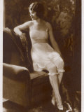 Lady Sits Negligently in Her Undies, Bra French Drawers or Knickers and Stockings Photographic Print