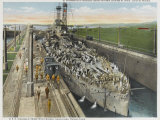 United States Warship Passing Through the Panama Canal Photographic Print