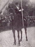 Mrs Haverfield as a Mounted Standard Bearer at a Suffragette Demonstration in Edinburgh Photographic Print