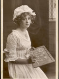 Gabrielle Ray Actress Doing Her Sums on a School Slate Photographic Print