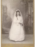French Girl Dressed for Her First Communion Photographic Print
