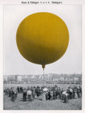 Colourful Balloon is Watched by a Rather Drab Crowd in a Grey Field Probably Photographic Print