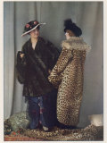 Short Wrap-Over Fur Coat and Flat Muff in a Dark Coloured Fur Photographic Print