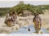 Maori Women in New Zealand Cooking Food in a Hot Spring Fotoprint