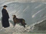 Priest from the Hospice on the St. Bernard Pass with One of the Famous Rescue Dogs Photographic Print