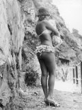 Girl in Bikini Walks Along a Cliff Path on a Fine Summer Day Photographic Print