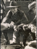 Cheerful Australian Soldier Peeling a Potato Photographic Print