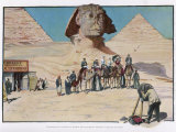 Tourists are Photographed in Front of the Sphinx, Some are on Camels Photographic Print