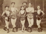 Five Acrobats Pose with Legs Crossed Photographic Print