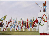Salute of Flags as Geo Andre Swears the Olympic Oath Photographic Print