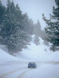 Car on Snowy Road, California Photographic Print by Lauree Feldman
