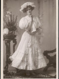 Gabrielle Ray Actress Wearing a Lacy Mob Cap and Dress with Lace Edging Photographic Print