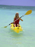 Woman Kayaking at Beach, HI Photographic Print by Tomas del Amo
