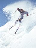 Alpine Skiing, Downhill Skier Blasting a Cornice Photographic Print by Bob Winsett