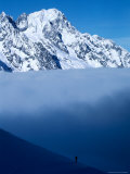 Lone Skier Looking Up at Cloud Bank, Italy Photographic Print by Pat Canova